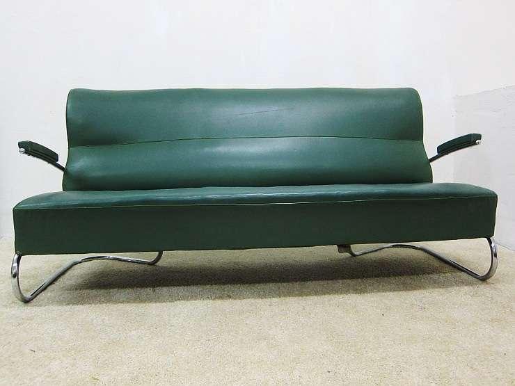 Mauser bauhaus dreisitzer stahlrohr sofa in gr n for Sofa 40er jahre
