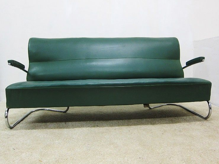 Mauser bauhaus dreisitzer stahlrohr sofa in gr n for Sessel 40er jahre