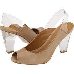 calçado com salto de acrílico
