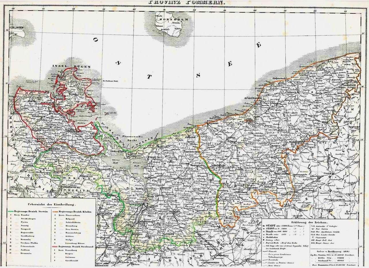 Historische-alte-Landkarte-POMMERN-in-Preussen-1846
