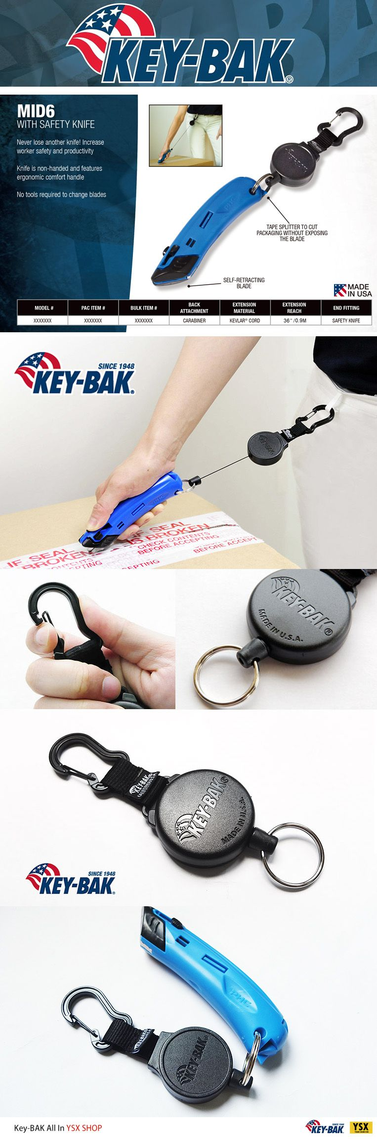 Key Bak Mid6 Retractable 36 Quot Polyester Key Holder With
