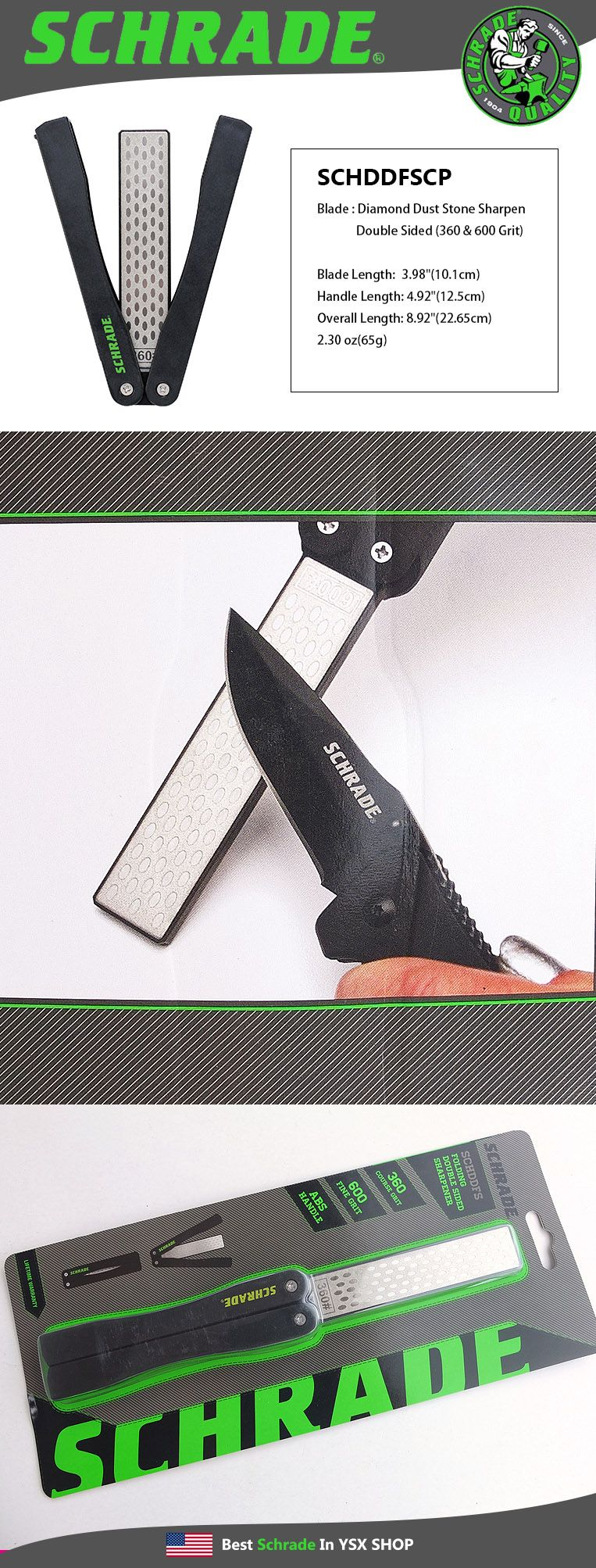 Schrade Double Sided 360//600 Diamond Dust Folding Sharpening Stone SCHDDFSCP
