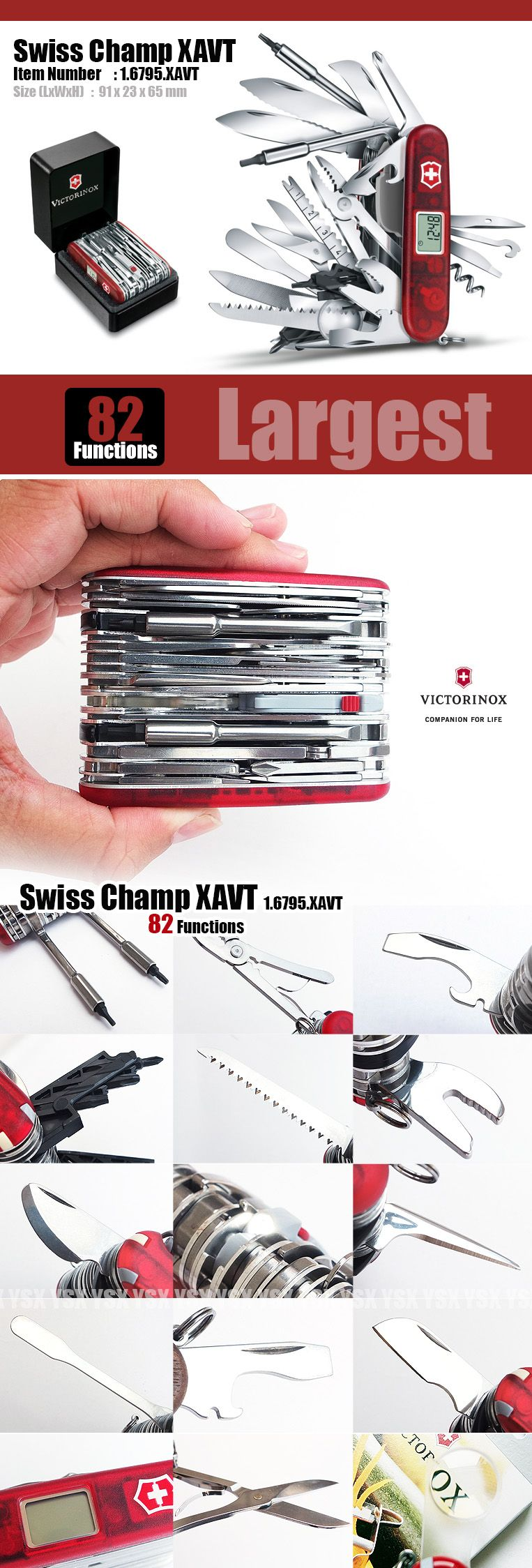 Victorinox Swiss Army Knife 91mm Swiss Champ Xavt 82