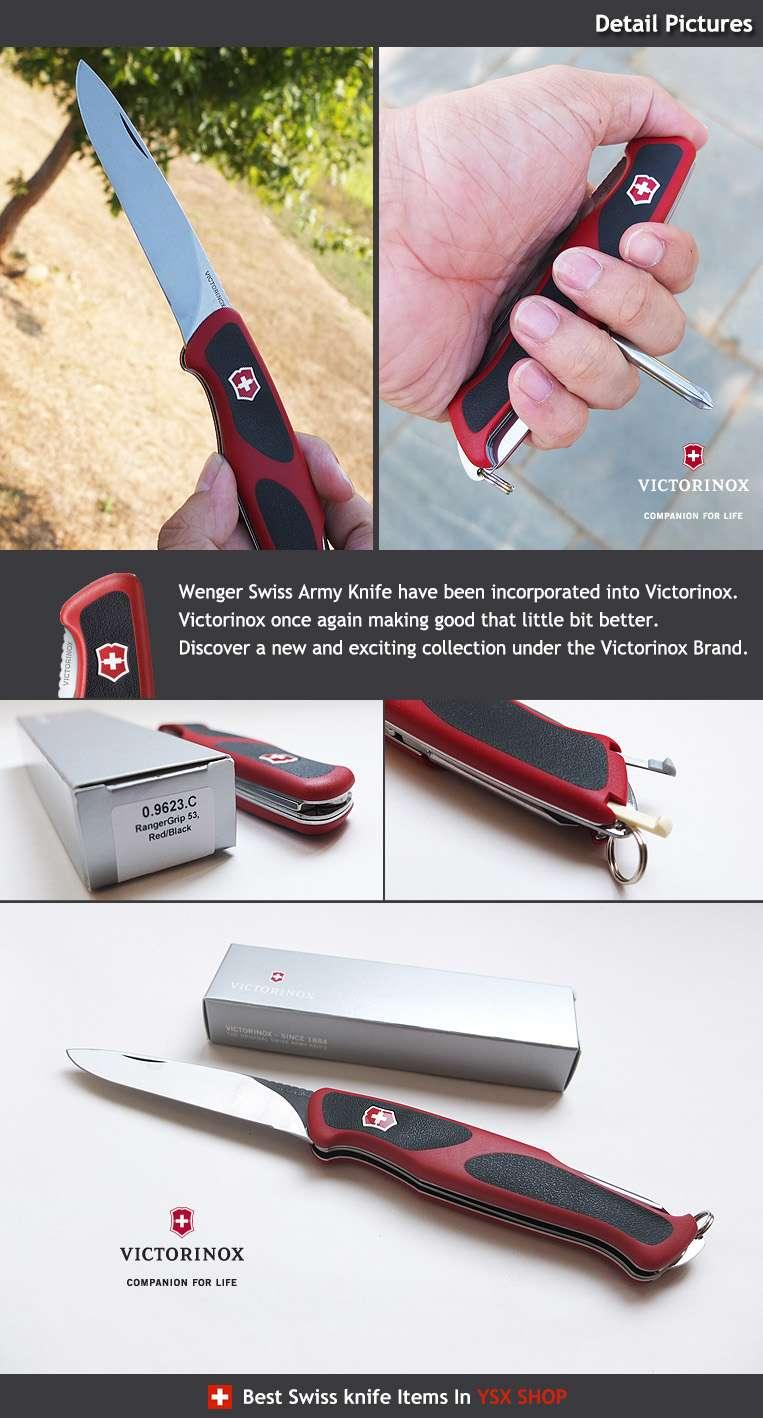 VICTORINOX Taschenwerkzeug Taschenmesser RangerGrip 53 rot//schwarz 0.9623.C